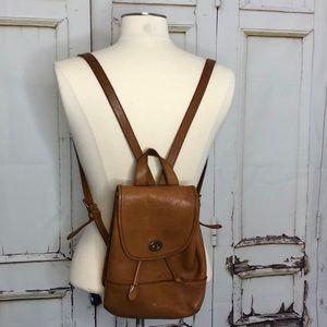 Vintage HUNT CLUB brown leather mini backpack